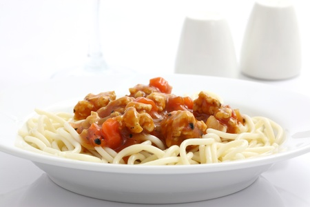 minced beef: spaghetti with tomato sauce in white background Stock Photo