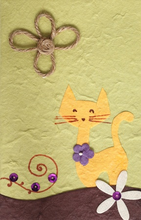 papercraft: Papercraft Cat and flower background Stock Photo
