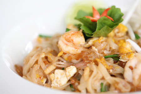 Thai food padthai fried noodle with shrimp photo