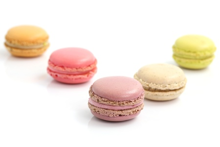 Colorful Macaron in close up isolated on white background Stock Photo - 10858942