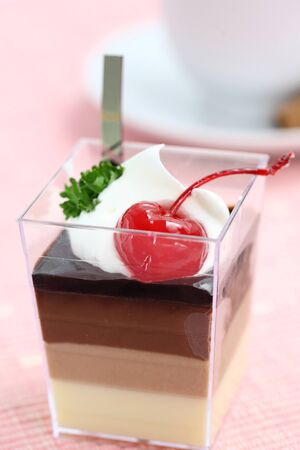 Cherry Panna Cotta pudding with coffee photo