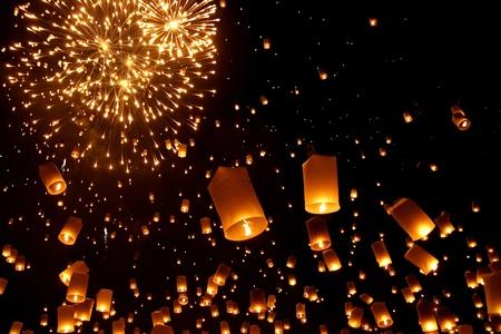 Newyear balloon traditional lantern yeepeng at night  , Chiangmai , Thailand photo