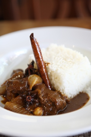beef curry: Beef curry with rice , Thai food on wood background