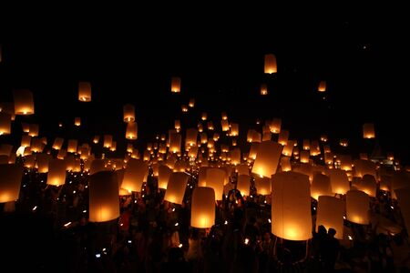 Thai traditional Newyear balloon lantern at night  Stock Photo - 11091867