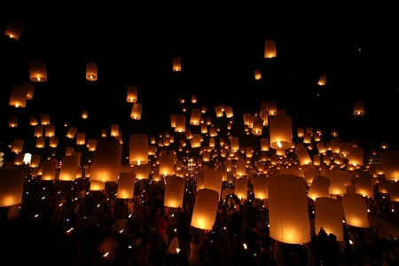 Thai traditional Newyear balloon lantern at night  Stock Photo - 11091868