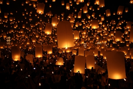 Thai traditional Newyear balloon lantern at night  Editorial