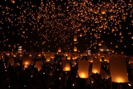 Thai traditional Newyear balloon lantern at night  Stock Photo - 11091872