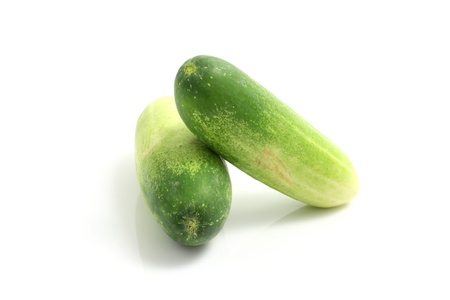small cucumber isolated in white background photo