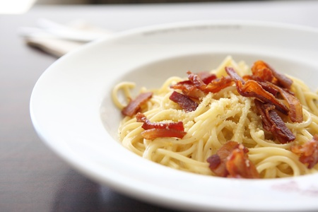 Spaghetti Carbonara with bacon and cheese Stock Photo - 11195554