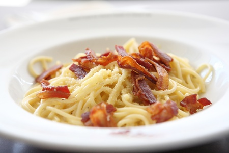 Spaghetti Carbonara with bacon and cheese photo