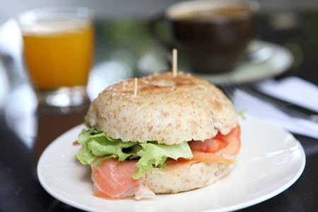 fresh bagel with salmon orange juice and coffee Stock Photo - 11195564