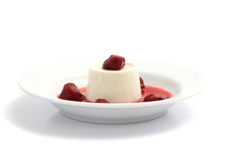 Strawberry Panna Cotta pudding isolated in white background Stock Photo - 11195505
