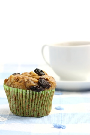 Muffin with raisins with coffee photo