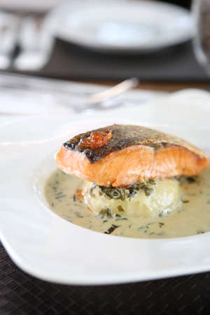 Grilled salmon with wakame sauce  photo