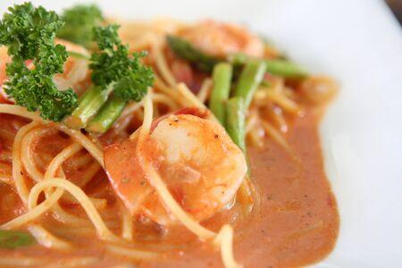 linguine pasta with shrimps in tomato sauce   photo