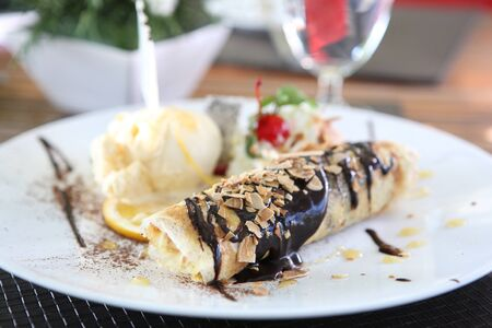 crepe with ice cream photo