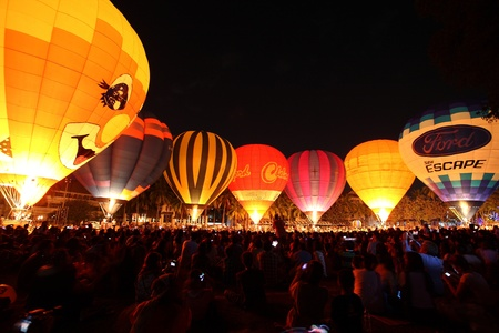 CHIANGMAI, THAILAND - NOV 27: Balloon festival in Chiangmai. People in balloon festival. On November 27,2011 in Chiangmai, Thailand.