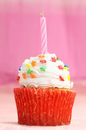cupcake in pink background photo