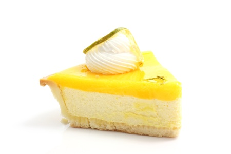 slice of lemon cheese cake isolated in white background