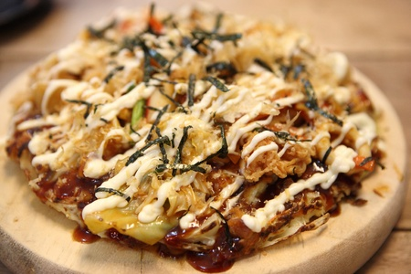 Japanese food okonomiyaki , Japanese pizza photo