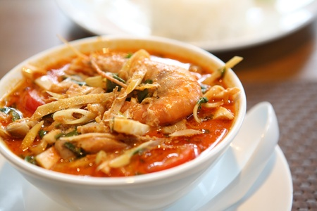 Tom Yum soup , a Thai traditional spicy prawn soup