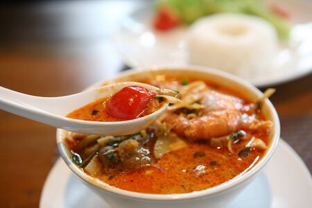 Tom Yum soup , a Thai traditional spicy prawn soup  photo