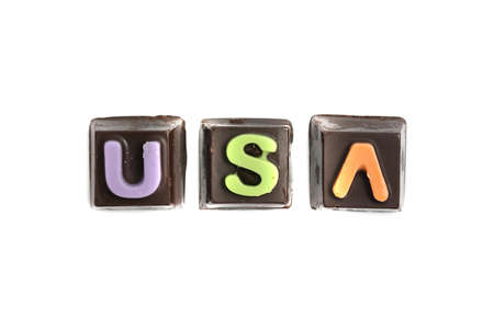 USA chocolate text isolated in white background photo