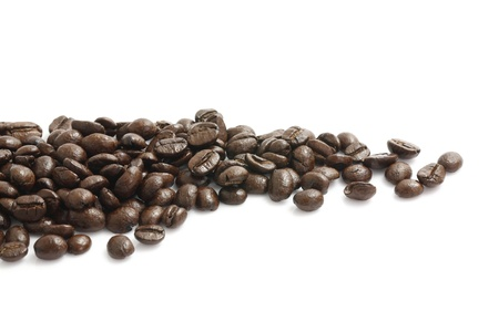 morning coffee: Coffee beans isolated in white background