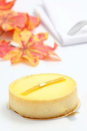 Lemon cheesecake isolated in white background photo
