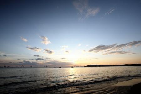 Tropical sunset on the beach. Krabi. Thailand