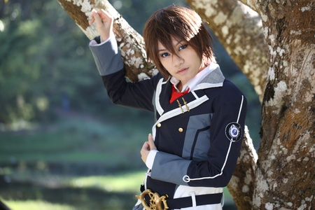 cosplay: Portrait Japanese High school cosplay on nature Editorial