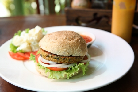 vegan food: veggie burger Stock Photo