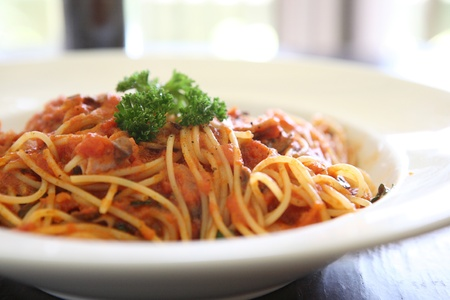 hot sauce: Spaghetti with tomato beef sauce  Stock Photo