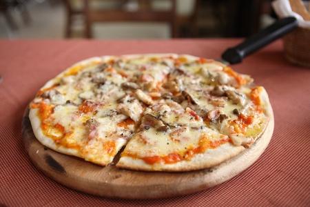 Pizza ham and mushroom photo