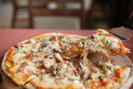 Pizza ham and mushroom photo