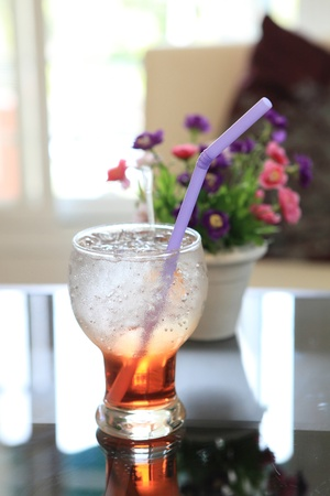 red soda cocktail with ice  photo