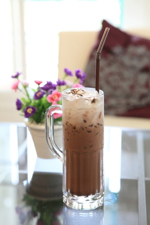 iced: ice coffee with flower