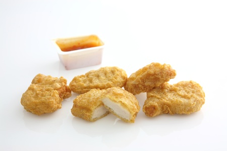 chicken nugget in white background photo