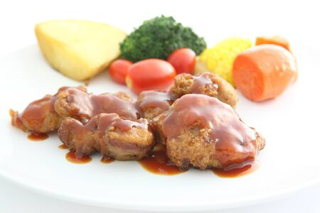 Fried Chicken with tomato sauce and vegetable Stock Photo - 13122112