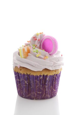 purple cupcake isolated in white background photo
