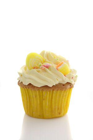 lemon cupcake isolated in white background photo