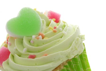 cupcakes isolated: green cupcake Stock Photo