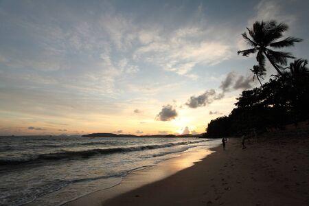 Tropical sunset on the beach  Krabi  Thailand Stock Photo - 14366119