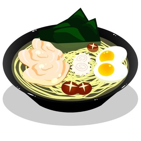 Ramen in white background Illustration