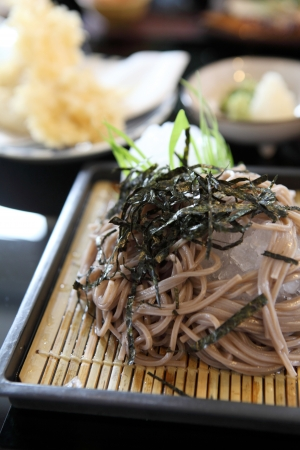Soba noodle with fried shrimp photo