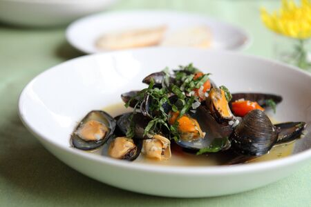sea mussel with white wine photo