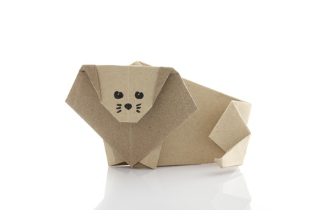 Origami lion by recycle papercraft photo