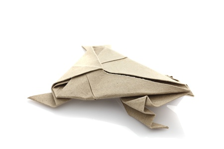papercraft: Origami frog by recycle papercraft Stock Photo