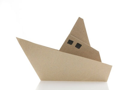 3d sail boat: origami boat in white background