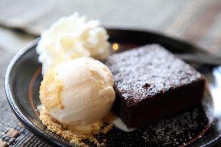 brownie met ijs Stockfoto